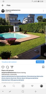 Un mio allenamento a domicilio del cliente - post sul mio canale ufficiale Instagram